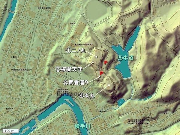 横手城地形図