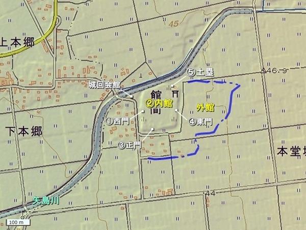 本堂城地形図