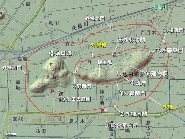 払田柵地形図
