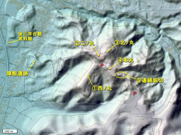 金沢城地形図