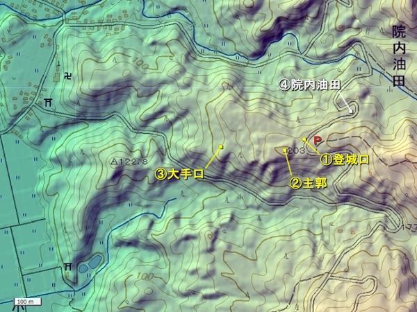 山根館地形図