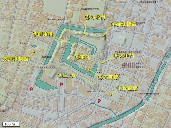 鶴ヶ岡城地形図