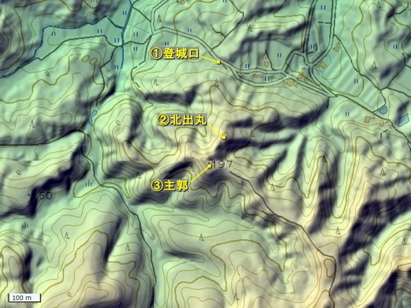 安川城地形図
