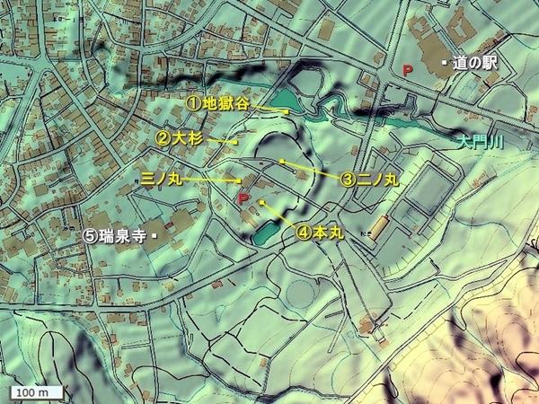 井波城地形図