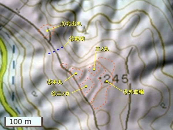 鷹巣城主郭部地形図