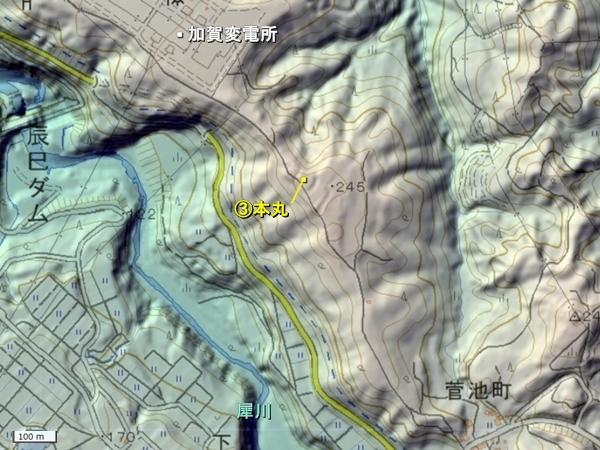 鷹巣城地形図