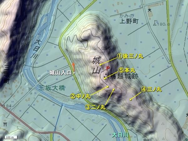 鳥越城地形図