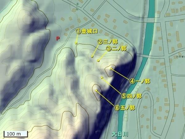 二曲城地形図