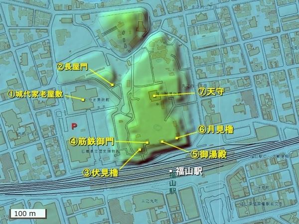福山城地形図