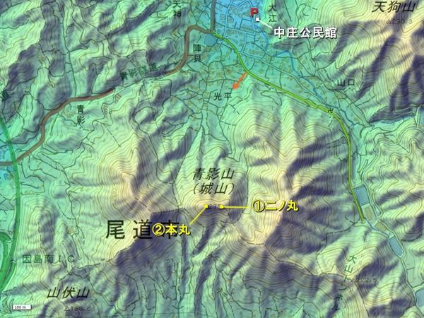 青陰城地形図