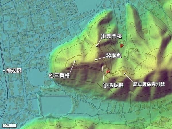 神辺城地形図