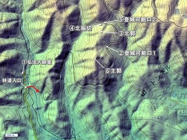 山手銀山城地形図