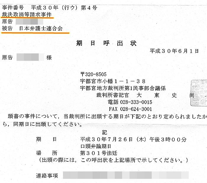 被告 日本弁護士連合会 被告日弁連 宇都宮地裁