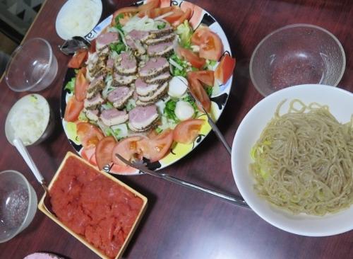 辛子めんたいこ、合鴨燻製サラダ