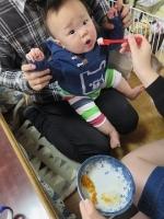 梨と柿を食べる赤子