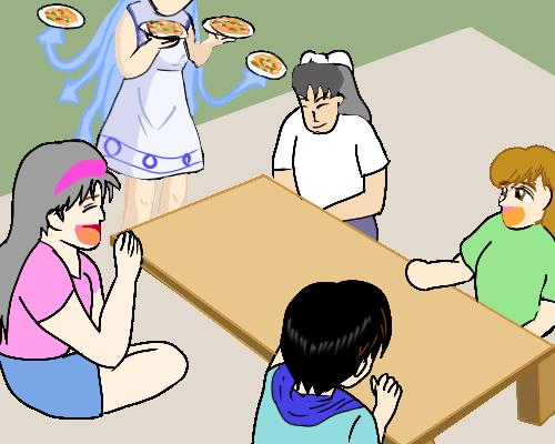 食卓  4人 と 娘 はいけい
