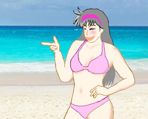 宮沢 ピンク水着 海