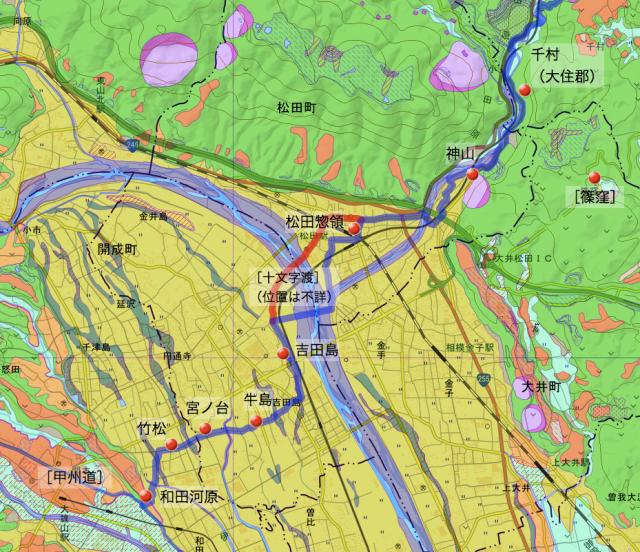矢倉澤道:足柄上郡中の各村の位置(追記版)