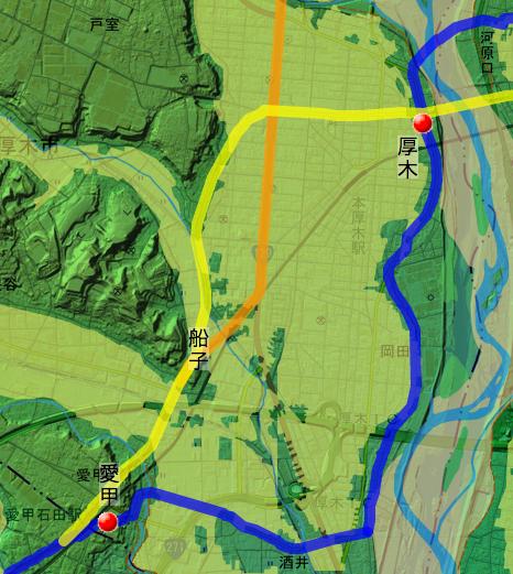 厚木付近の国道246号線の変遷