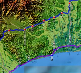 矢倉沢往還と東海道筋の各拠点の位置関係
