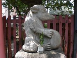 神田 柳森神社 タヌキの像 横から見る