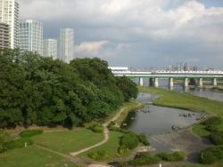 二子玉川 新丸子橋から見た兵庫島公園