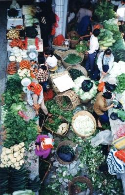 市場の野菜売り場 1996年海南島
