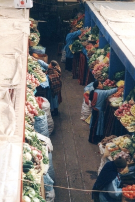 プーノの市場で。市場での働き手が女性なのは世界共通か・・・。 2003年 ペルー プーノ