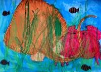 子供絵画コンクール努力賞 水の中で魚が泳いでいる