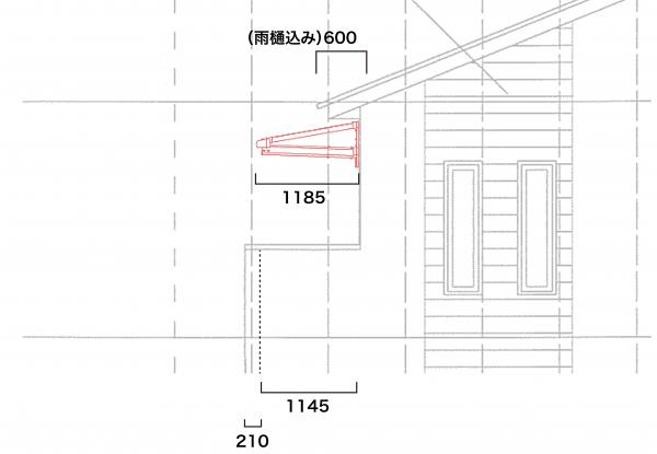 屋根の出は600mmに柱無しテラス