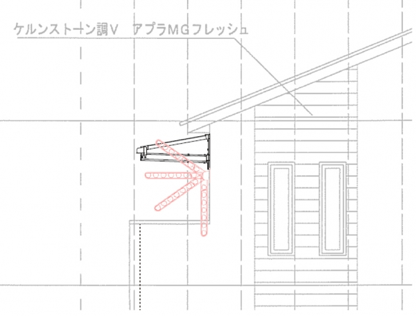 屋根の出は600mmに柱無しテラス_物干しが当たる