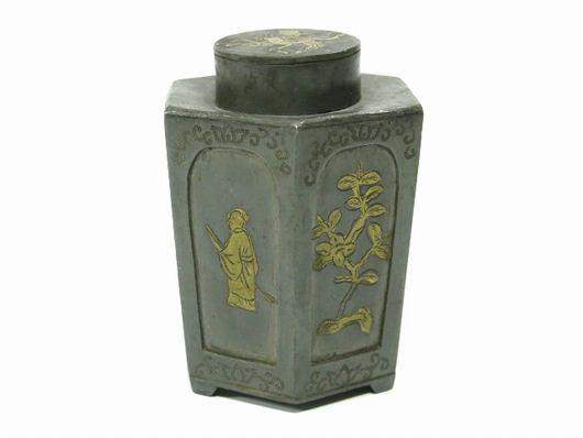 中国古玩 王東文造 古錫 茶壷 茶入