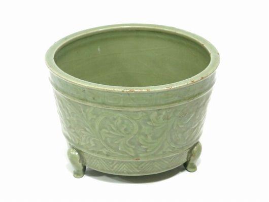 中国 龍泉窯 青磁 蘭鉢 植木鉢 瓶掛