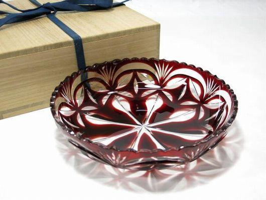 尚古集成館監修 「薩摩ガラス工芸」作 紅被せガラス 切子大皿