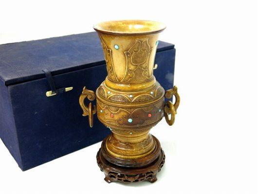 中国美術 本象牙 環付 花瓶 台座 置物