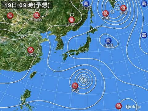 19日天気図]
