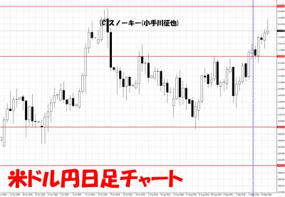 20180922さきよみLIONチャート検証米ドル円日足