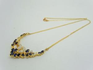 サファイヤとダイヤ ネックレス