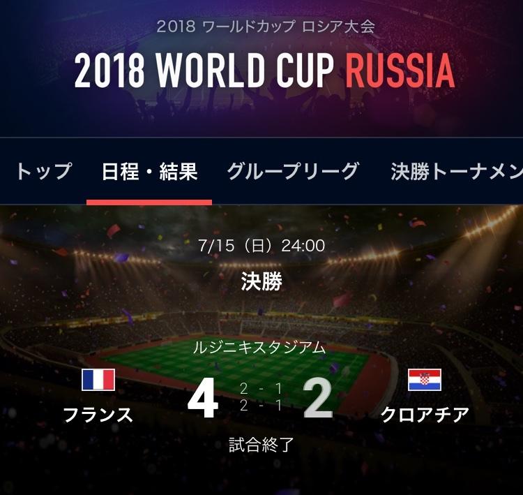 W杯決勝フランス対クロアチア戦