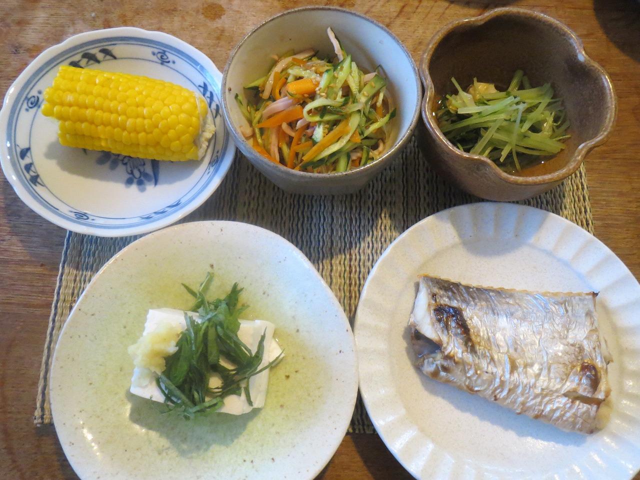 たちうお、豆腐、春雨サラダ