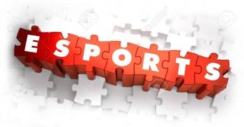 41155262-e-スポーツ-ホワイト赤白背景にパズルの単語。3-d-イラスト。