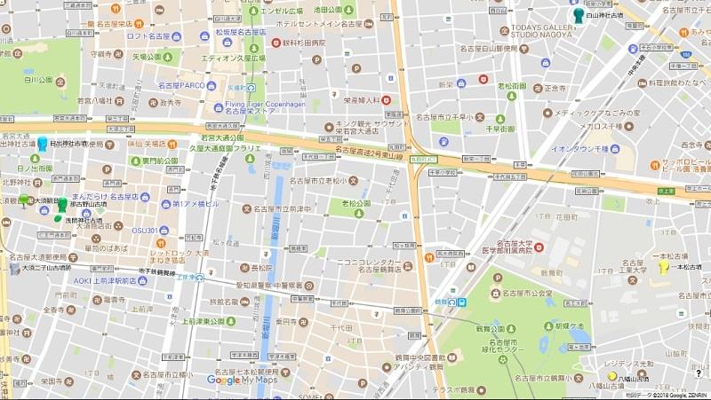 大須~白山・鶴舞地図