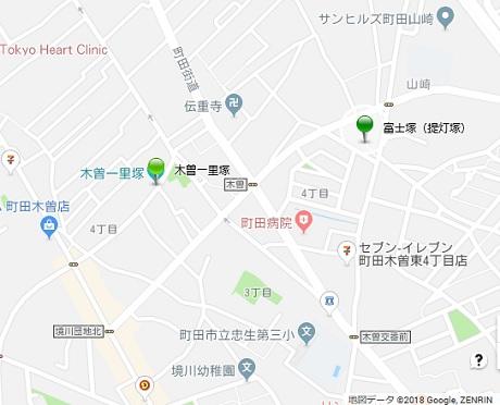 木曽富士塚、一里塚地図