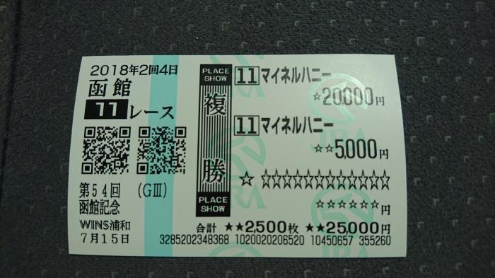2018年7月15日(日) 函館11R 函館記念 馬券2