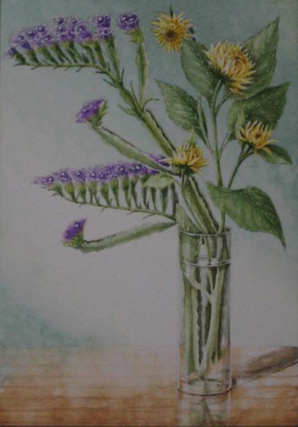 スターチスとミニヒマワリ 1807