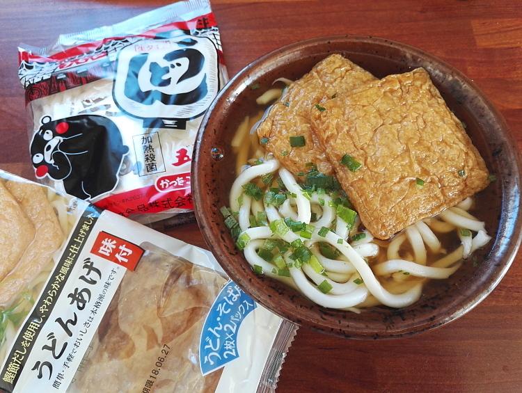 日本 くまモン 生うどん きつね揚げ 美味い