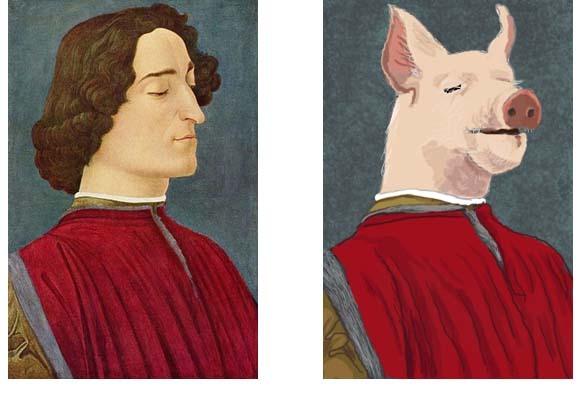 ボッティチェリのジュリアーノ・デ・メディチの肖像ぶた