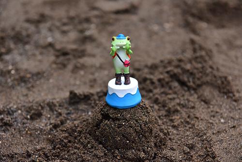ツバキアキラが撮ったカエルのコポー。砂場に小さな山を作って、登山気分を満喫中のコポタロウ。