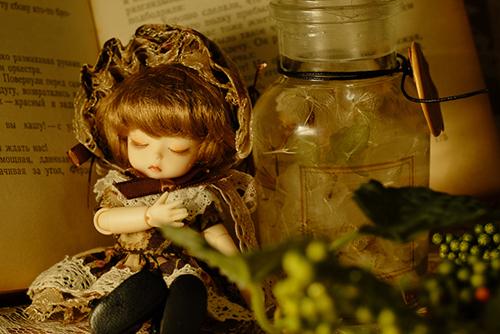 DOLL FACTORY・Baby Ariの小さな眠り目の子、Emma(エマ)。洋書の古本を使ったアンティークな空間で、すやすやと眠っています。