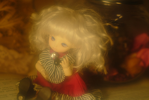 Brownie・ポケットフェアリーのMomoちゃん、赤いドレスに着替えて、アンティークな雰囲気で。